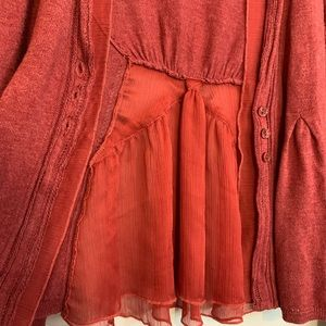Anthropologie Sweaters - Anthro Angel Of The North Red Open Front Cardigan